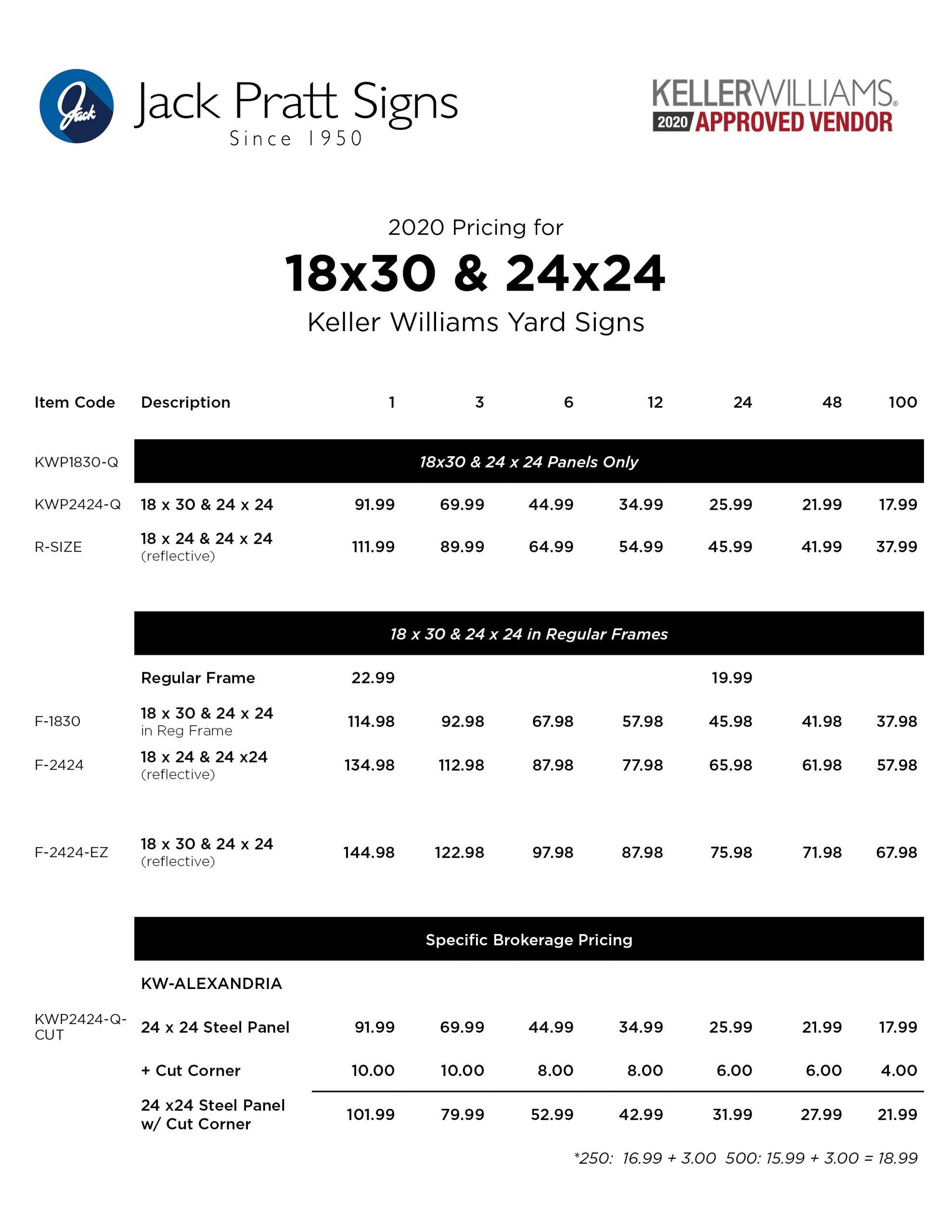 18x30:24x24 pricing
